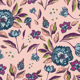 Blush Pink Blue floral fabrics design