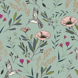Hummingbird floral fabrics design
