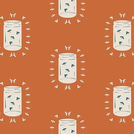 Fireflies Mason Jar Glow fabrics design