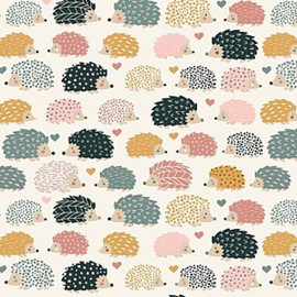 Pastel hedgehog cotton fabrics design
