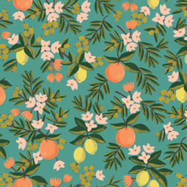 Citrus Floral Teal by Rifle Paper Co., QTR YD