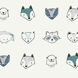 Woodland Animals cool cotton fabrics design