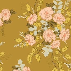 Yellow floral fabrics design