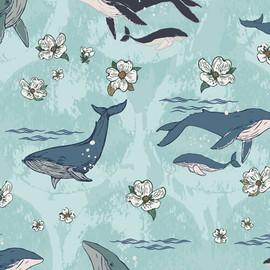Whale floral Underwater Enchant Solar fabrics design