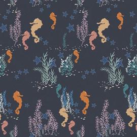 Seahorse ocean navy fabrics design