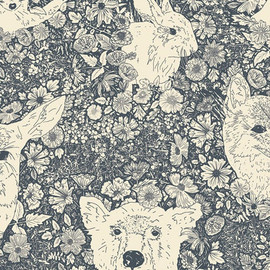 Bear Deer forest animal navy fabric, Wandering with Bear, AGF cotton, QTR YD