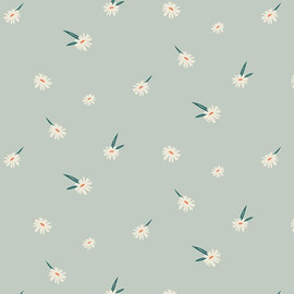 White daisy minty blue fabrics design