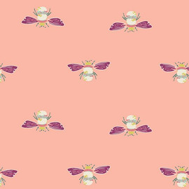 Coral bumble bee fabrics design