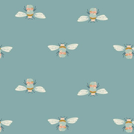 Blue bumble bee cotton fabrics design