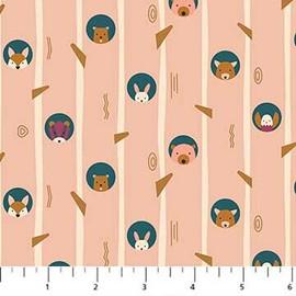 Peach cream woodland tree animals fabrics design