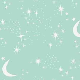 Mint stars & moon cotton fabrics design