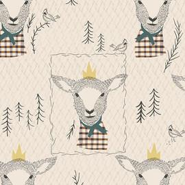 Brown tan sheep Lambkin cotton fabrics design