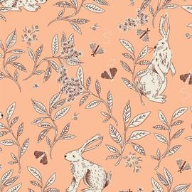 Peach bunny floral Fabrics design