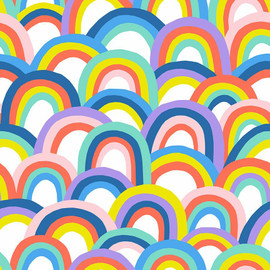 Bright big rainbow fabrics design