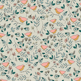 Cream love birds cotton fabrics design