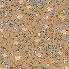 Amber love birds cotton fabrics design