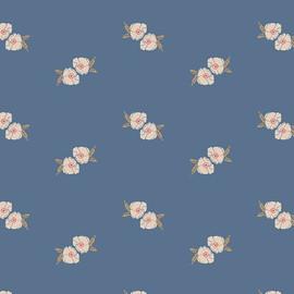 Flower Stamp Spell blue cotton Fabrics design