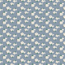 Blue white floral fabrics design