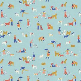 Dog Walkers blue fabrics design