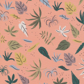 Peach Jungle leaves rainforest fabrics design