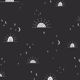 Black Sun Moon Stars fabrics design