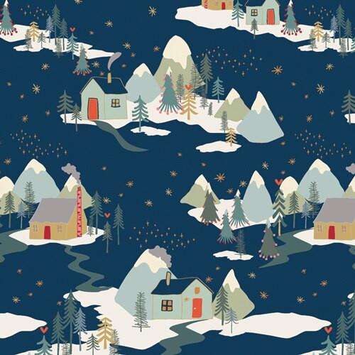 Blue Winter Cabins Fabrics design