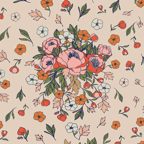 Love Story cream floral, Soulmate Blooms Flirt, AGF cotton fabric, QTR YD Yd