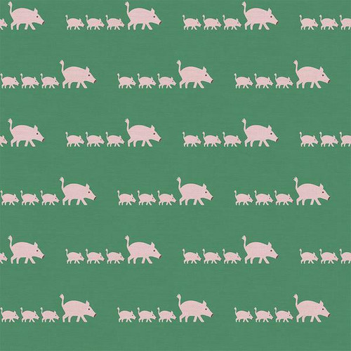 Green pink pig kids cotton Fabrics design