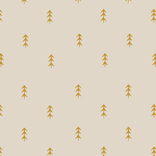 Gold pine tree forest fabrics design