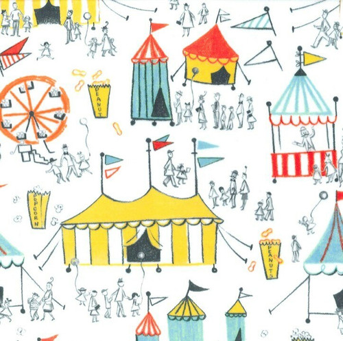 Carnival fun white cotton fabrics design