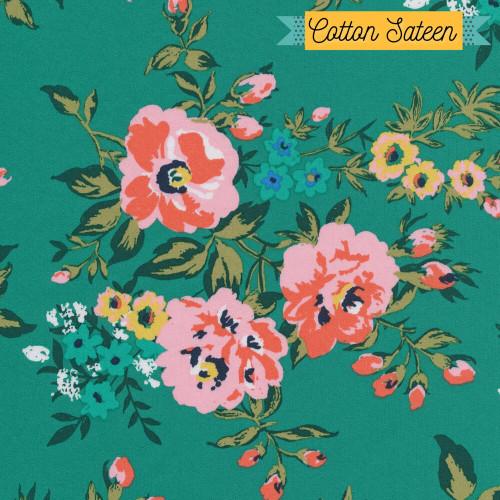 Green floral cotton sateen fabrics design