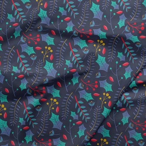 Navy Holly leaves Christmas Fabrics design