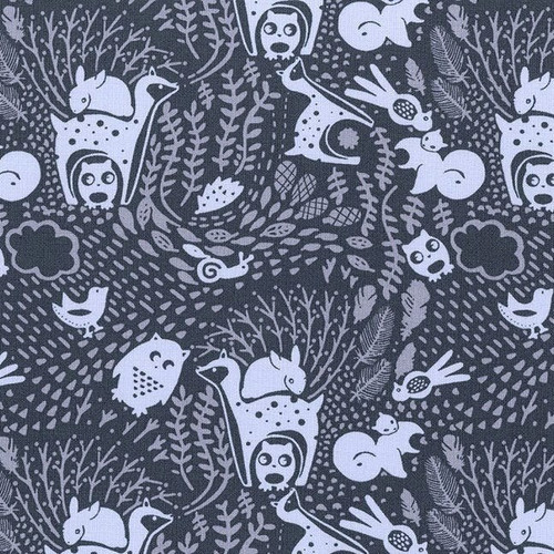 Navy woodland animals fabrics design