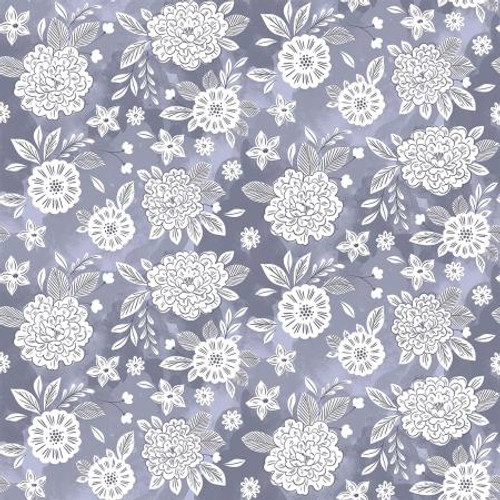 Stardust Blue Floral Fabric, Flower Dream Cotton Fabric, QTR YD