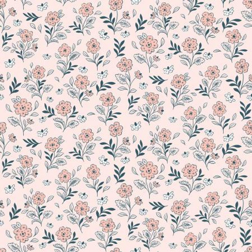 Fairy Pink Flower Fabric, Floral Cluster Cotton Fabric, QTR YD