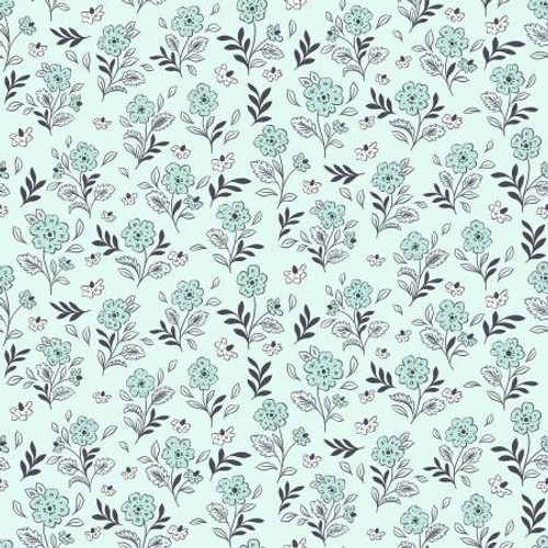 Light Touch Blue Floral Fabric, Floral Cluster Cotton Fabric, QTR YD