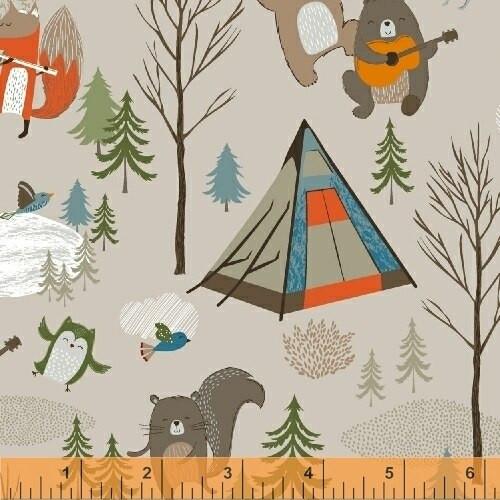 Khaki Forest animals Bear Camp quilt cotton fabrics design