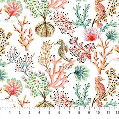 Modern sea life fabric - Figo Fabrics Sea Botanica cotton, QTR YD