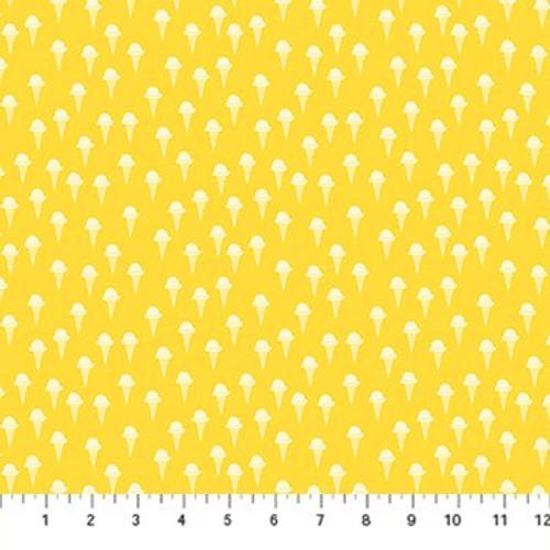Yellow ice cream cones cotton fabrics design