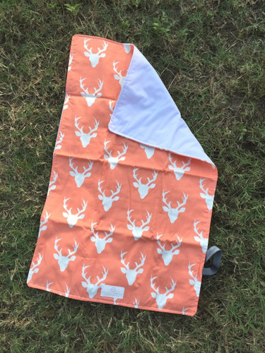 Coral Deer Silhouette Travel Changing Pad