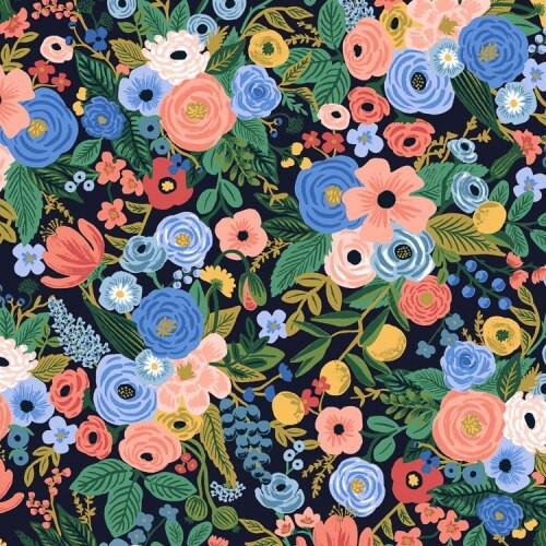 Garden Party navy Wildwood cotton fabrics design