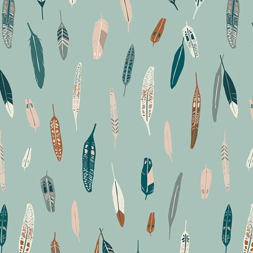 Teal metallic feathers fabrics design