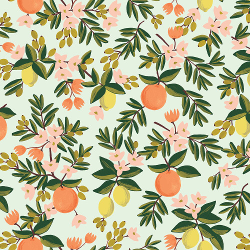 Citrus Floral Mint fabrics design