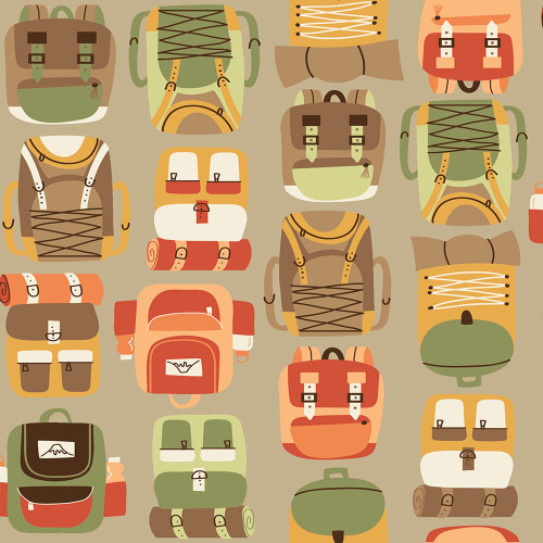Brown Backpack Hiking Camping fabrics design