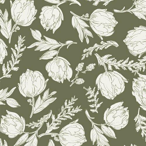 Green white floral fabrics design