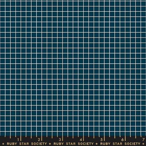 Navy grid quilt cotton fabrics design