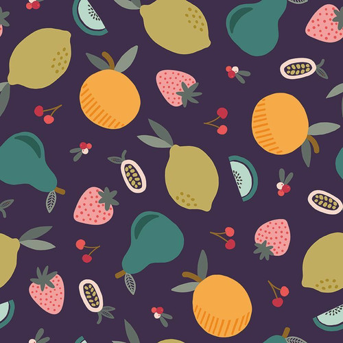Navy mixed fruit fabrics design