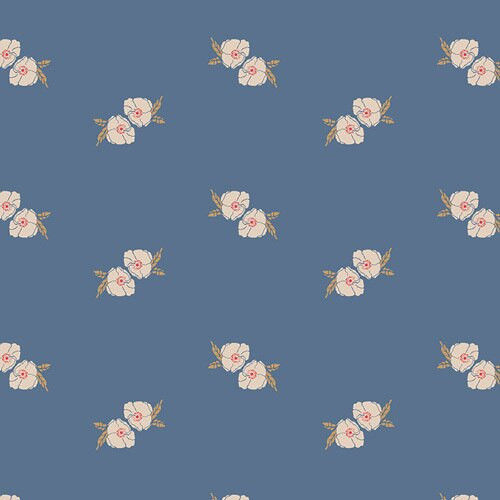 Flower Stamp Spell blue cotton Fabrics design