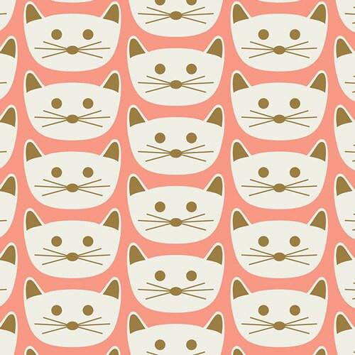 Pink Cat Nap Blush cotton fabrics design