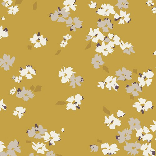 Gold yellow white floral fabrics design